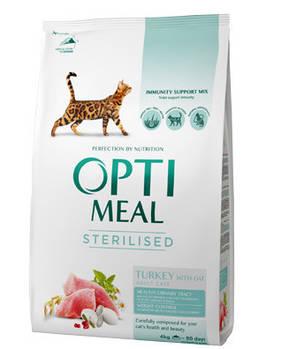 Сухой корм Optimeal Оптимил для стерилизованных кошек индейка и овес, 4 кг