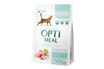 Сухой корм Optimeal Оптимил для стерилизованных кошек индейка и овес, 10 кг