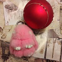 Брелок Кролик норковый, 8 см, розовый