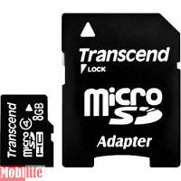 Карта памяти Transcend 8 Gb microSDHC class 4 + Adapter