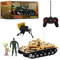 Детский игрушечный танк на радиоуправлении  AKX520B, аккум, 25см, звук, свет, рез.колеса, фото 1