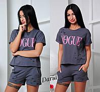 Женский стильный костюм: шорты и футболка (3 цвета) графит
