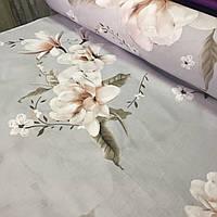Ранфорс с крупными пудровыми цветами на сером фоне, ширина 220 см, фото 1