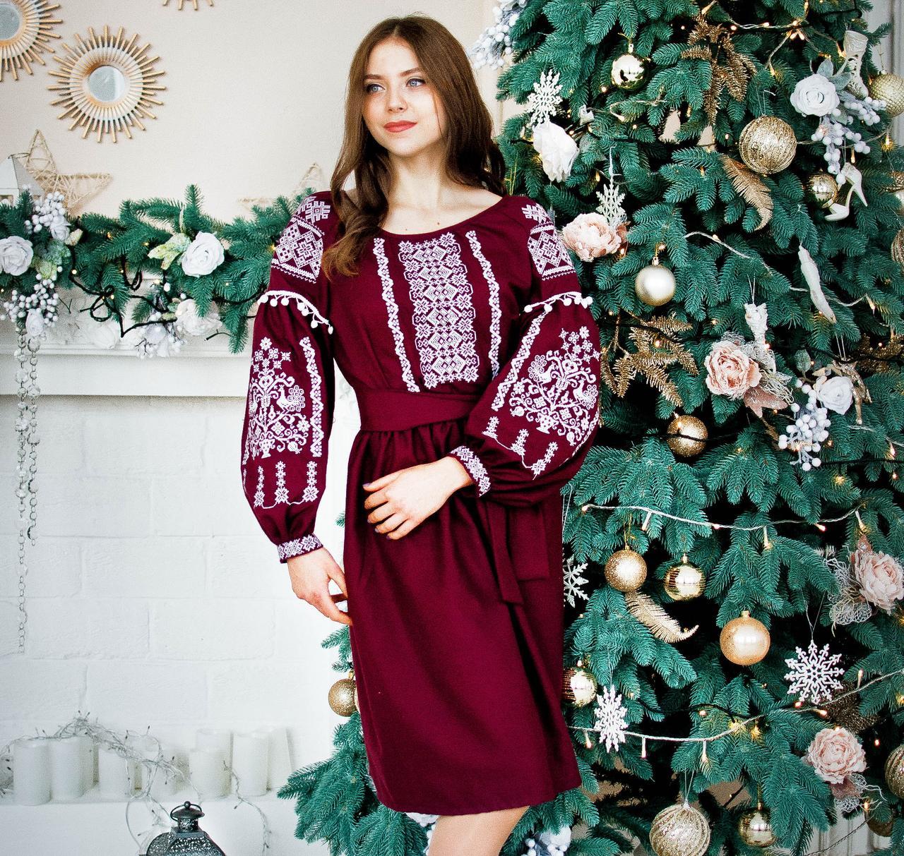 Вишите плаття Марсало (машинна вишивка c7685685e6801