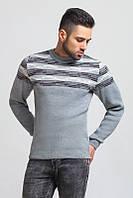 Мужской свитер вязаный серый