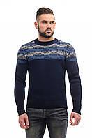 Мужской свитер вязаный синий
