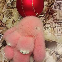Брелок Кролик норковый, 14 см розовый