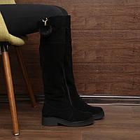 Женские сапоги (7095.2) 36, 38, 39, 41 - зимние замшевые черные на низком каблуке и платформе