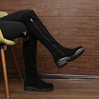 Женские зимние ботфорты на низком каблуке и платформе модель 7095.2