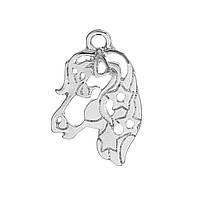 Подвеска Единорог, Голова, Лошадь, Цинковый сплав, Ажурная резьба, Серебряный тон 24 мм x 16 мм