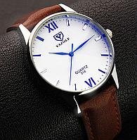 Модные наручные мужские часы с коричневым ремешком код 344