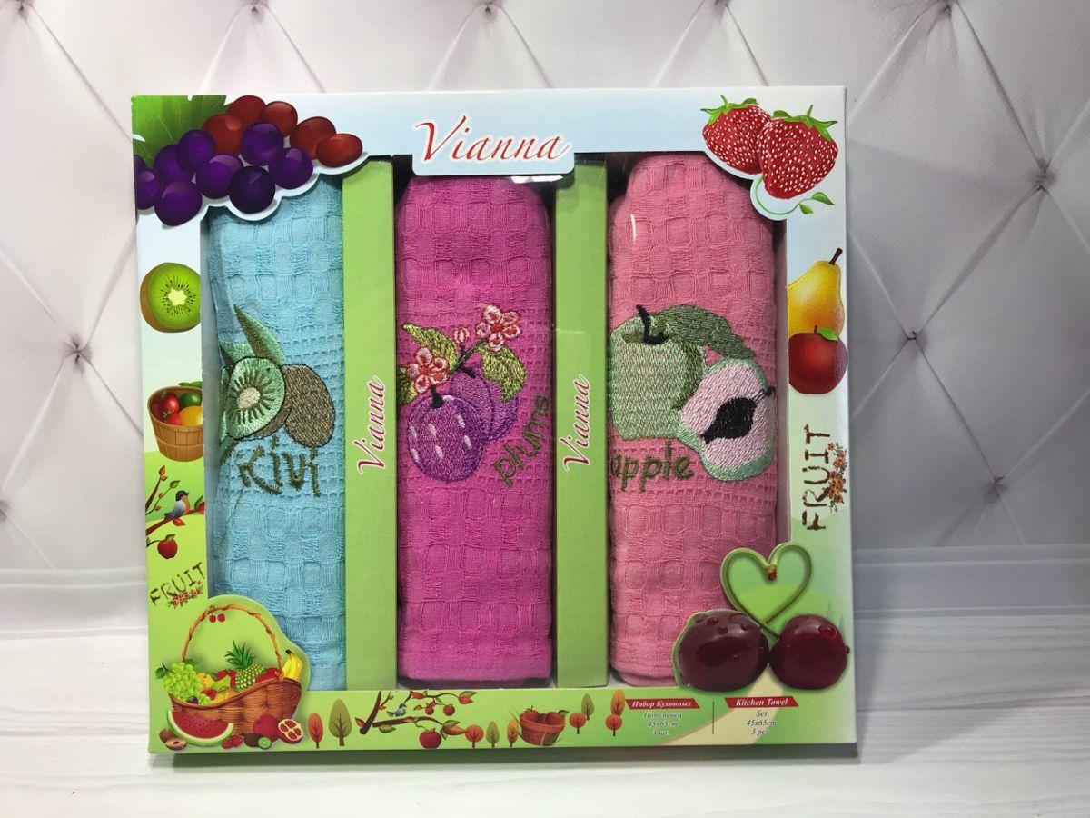 Подарочный набор вафельных кухонных полотенец Vianna № 32595