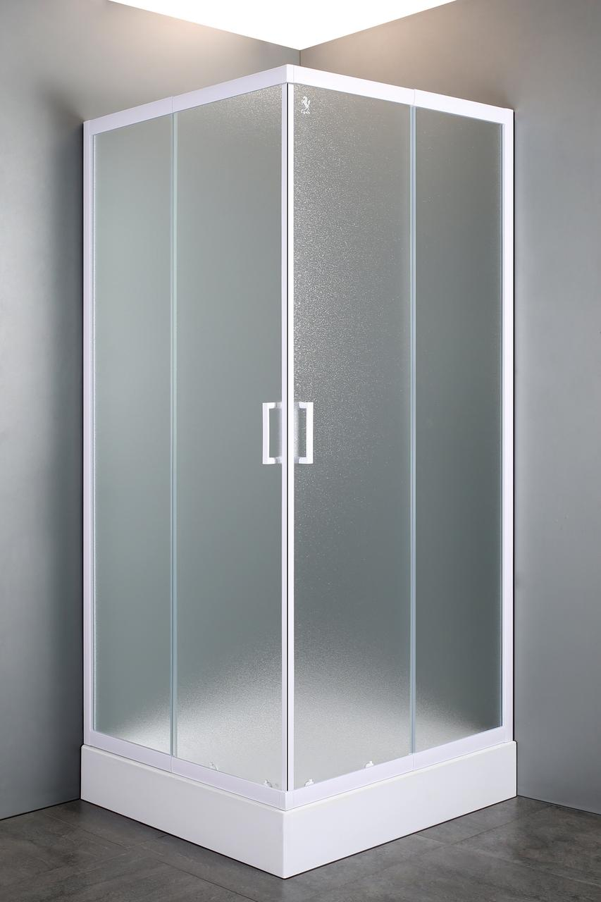 """VI'Z квадратна душова кабіна 80~90*185 см, регульований білий профіль, скло """"Zuzmara"""" (скла+двері)"""