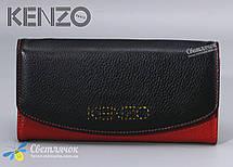 Кошелек женский кожаный черно-красный KENZO KE5890 AE , фото 3