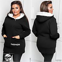 Женское худи черного цвета с капюшоном. Модель 16795. Размеры 48-54.
