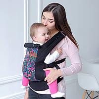 Эрго-рюкзак Love&carry Dlight Цветы черный, фото 1