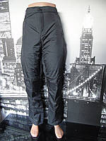 Штаны спортивные утепленные женские батал черного цвета