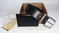 Мужской подарочный набор  зажим для денег + ремень