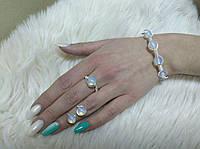 Комплект серьги, кольцо, браслет с лунным камнем., фото 1