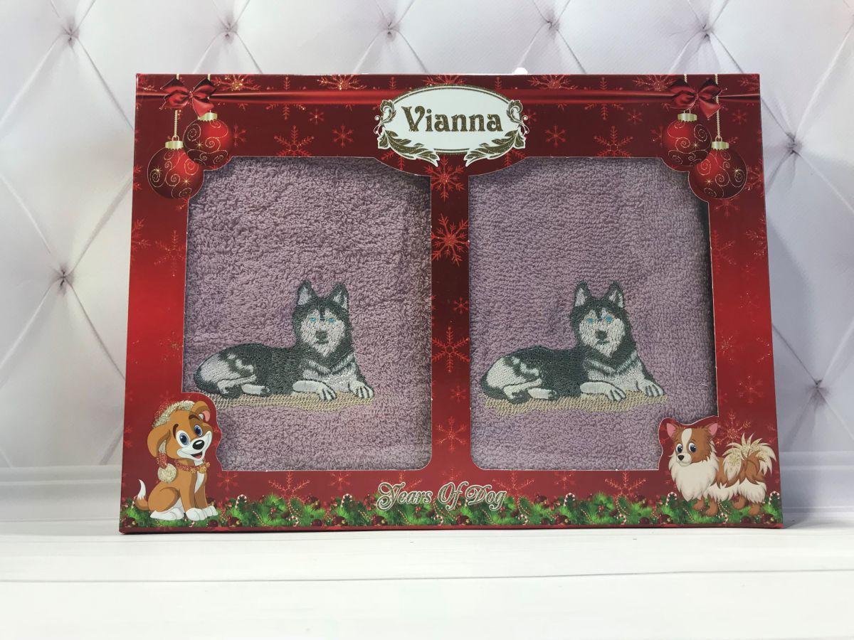 Подарочный набор махровых полотенец с собачкой Vianna № 32607