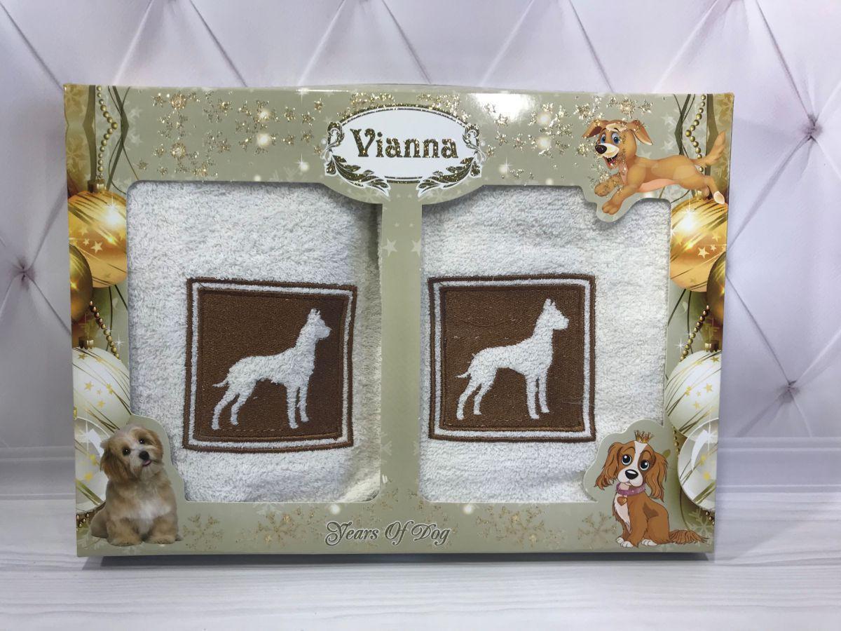 Подарочный набор махровых полотенец с собачкой Vianna № 32611