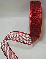 Новогодняя красная лента-сетка для бантов с проволочным краем 1уп-45м(3.8см)