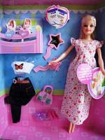 Кукла DEFA 8009 беременная, с одеждой, 2 ребенка и аксессуары