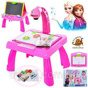 Столик с проектором и мольбертом доской для рисования 2в1 Фроузен, Холодное сердце, Эльза и Анна, FROZEN