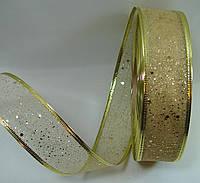 """Золотая лента""""мелкая сетка"""" для бантов с проволочным краем(ширина 3.8 см)1 рулон-45м"""