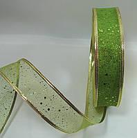 """Зеленая лента""""мелкая сетка"""" для бантов с проволочным краем(ширина 3.8 см)1 рулон-45м"""