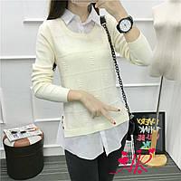 Женский стильный реглан /свитер имитация рубашки (4 цвета) серый