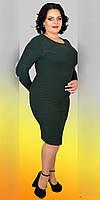 Элегантное женское приталенное платье из  шерсти батал  46-56  зелёное