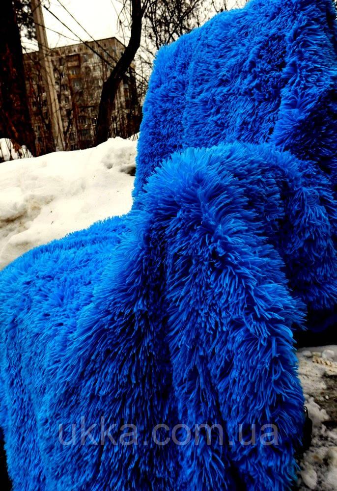 Покрывало меховое с большим ворсом полуторное 160х200 синее