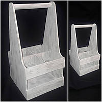 Ящик деревянный в стиле Прованс под 4 бутылки, ручная работа, 39х20х21 см., 250/220 (цена за 1 шт. + 30 гр.)