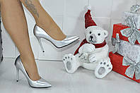 Женские туфли лодочки серебристые, Турция,каблук 10см  ,размеры 36,38,40