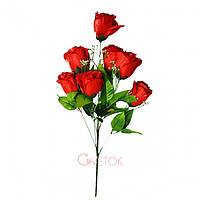 Искусственный букет роза раскрытая атлас с зелёными листиками и добавкой ВМ - 2/7