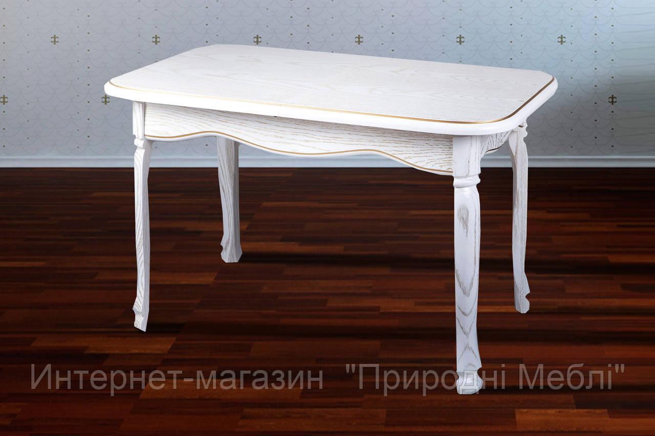 Стол обеденный раскладной Гаити 120 белый с патиной