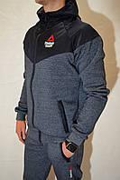 Теплий зимовий спортивный костюм Reebok (капішон, вишивка, замок) - Остались размеры: S, M (46, 48)