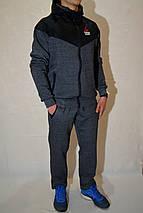 Теплий чоловічий спортивный костюм Reebok (рібок), Трикотаж, Трьохнитка, Розміри:46-54 - сірий, фото 2
