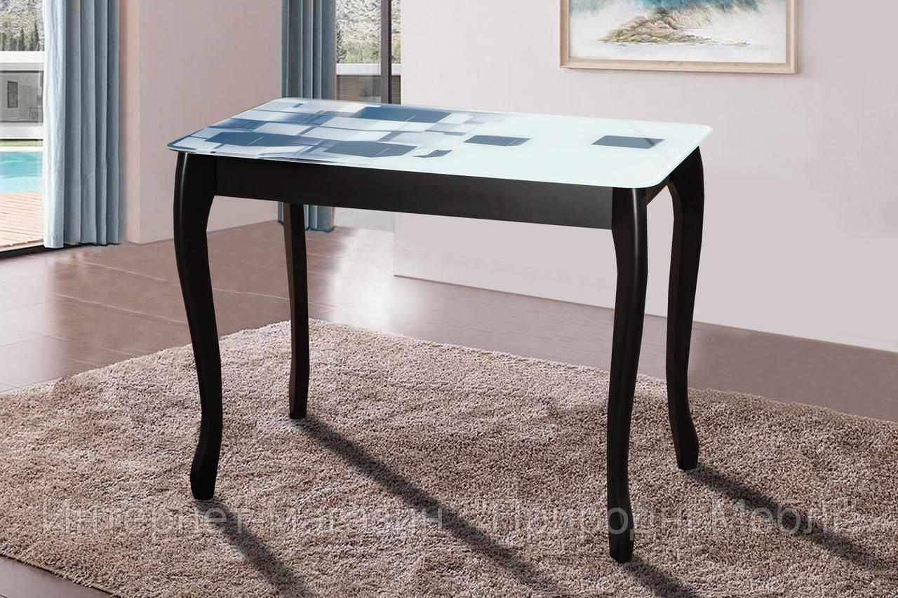 Стол кухонный Смарт черный со стеклом кубы