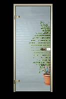 Стеклянные двери с прозрачным стеклом и рисунком по одной стороне 800х2100мм