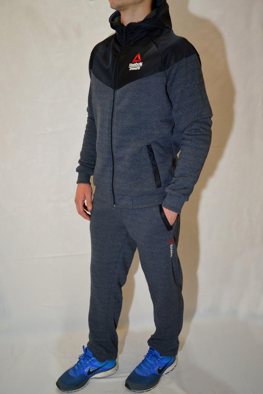 3b3a0617377 Мужской спортивный костюм Reebok (Рибок) на молнии с капюшоном. Трикотаж -трехнитка