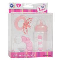 Пустышка, бутылка и погремушка для куклы - комплект аксессуаров JC Toys(розовый цвет)