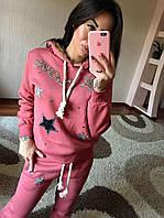 Теплый спортивный костюм со звездочками (кофтас капюшоном и брюки)