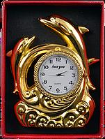 Зажигалка подарочная с часами Дельфины (Золото) №4373 Код:460328169