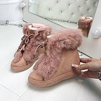 Зимние женские розовые ботинки унты экозамш с мехом кролика