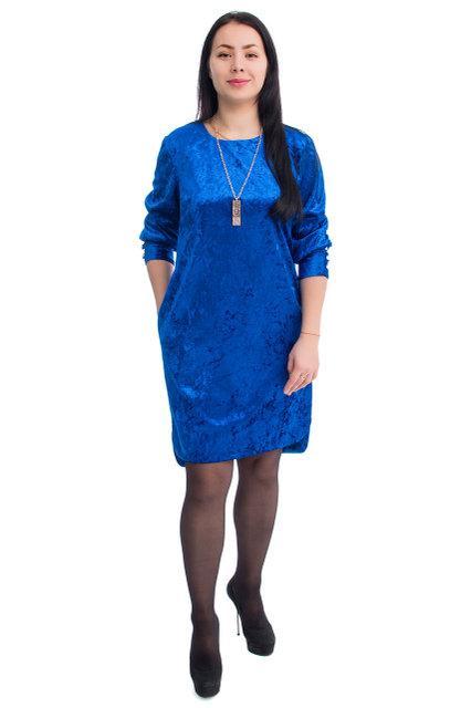 cd91b26deec Модное женское велюровое платье свободного кроя больших размеров 52-58  синее. 470 грн