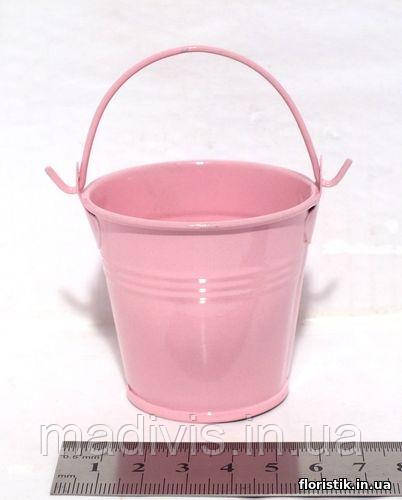Ведерко декоративное 5,5 см. розовое