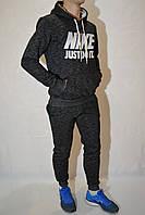 Зимний комплект - споротивная кофта с капюшоном и брюки на манжетах, NIKE  - чёрный/серый