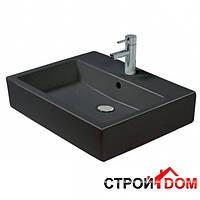 Умывальник прямоугольный с переливом 60х47 Duravit Vero 0452600830 с тремя отверстиями под смеситель, черный